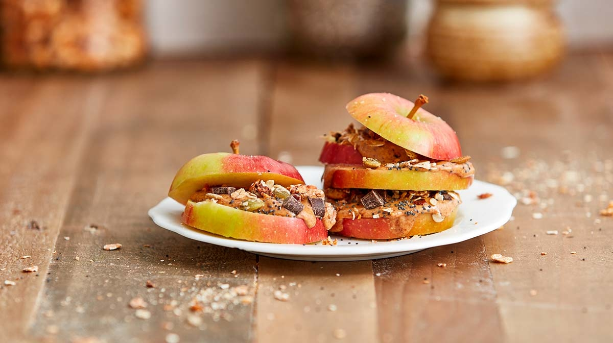 Healthy Snack Recipe | Apple, Peanut Butter And Granola Slices
