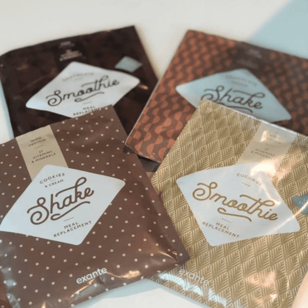 collection of exante meal replacement shakes and smoothies