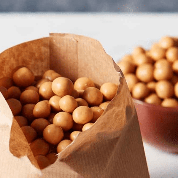 peanut butter balls in brown bag