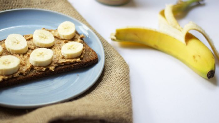 Banana & Peanut Butter on Toasted Rye Bread #NationalToastDay