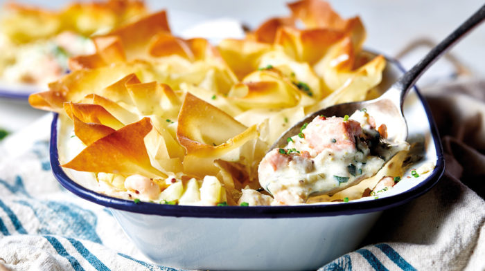 Healthy Fish Pie with Filo Topping