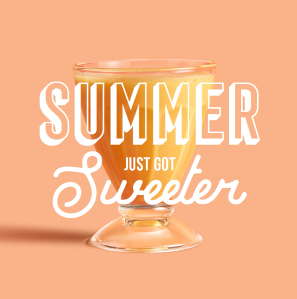 Orange Shake with 'Summer Just got Sweeter' text over the top