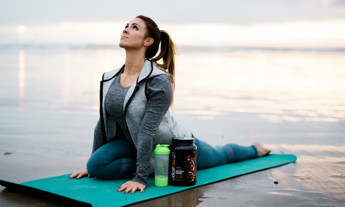 benefits of plant based protein-nicole with rawtub on yoga mat