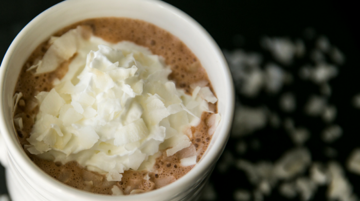 Chocolate Coconut Protein Hot Chocolate