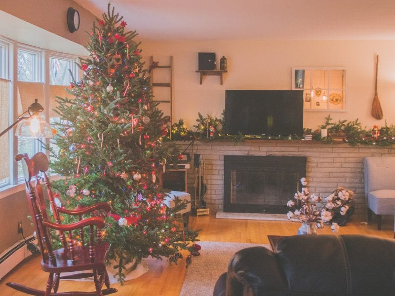A christmas setting in the home