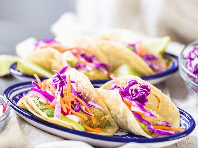 Some healthy vegan-friends faux fish tacos