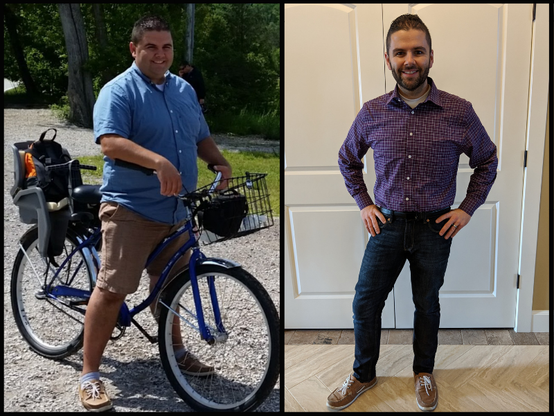 a man's before and after weight loss transformation