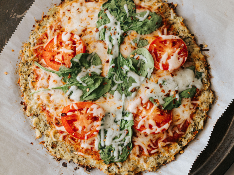 A cauliflower pizza crust
