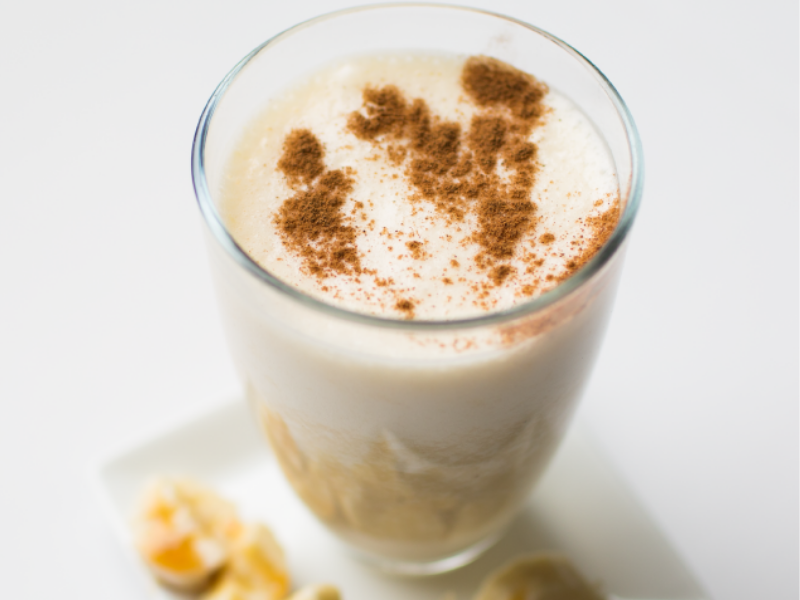 A healthy Bananas Foster Protein Smoothie