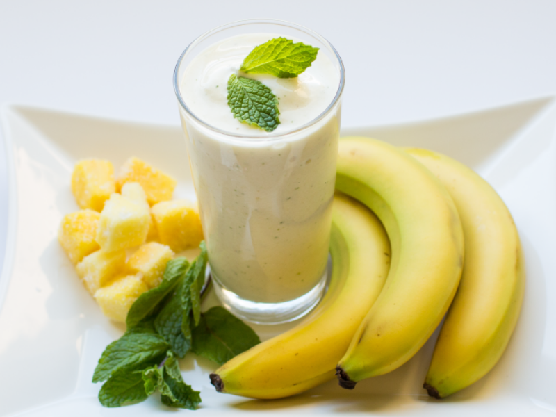 A healthy Pineapple Mint Protein Smoothie