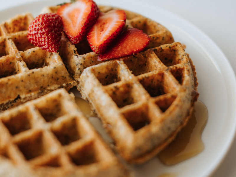 Healthy almond poppyseed protein waffles