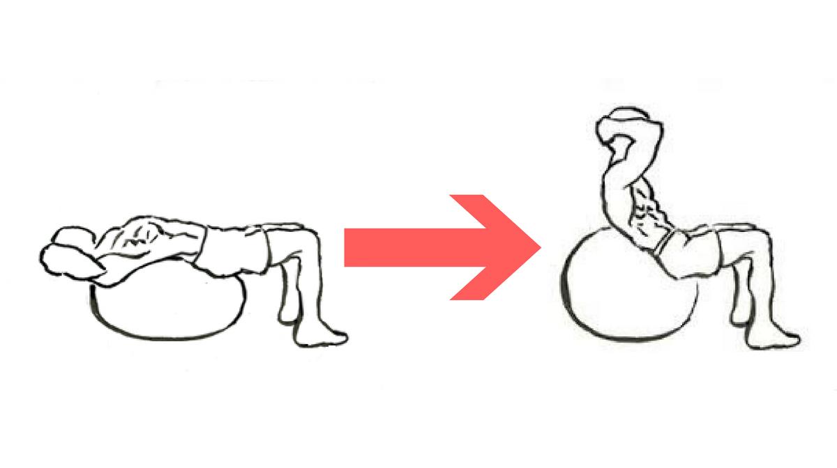 Crunch con fitball, uno degli esercizi fitball più comuni