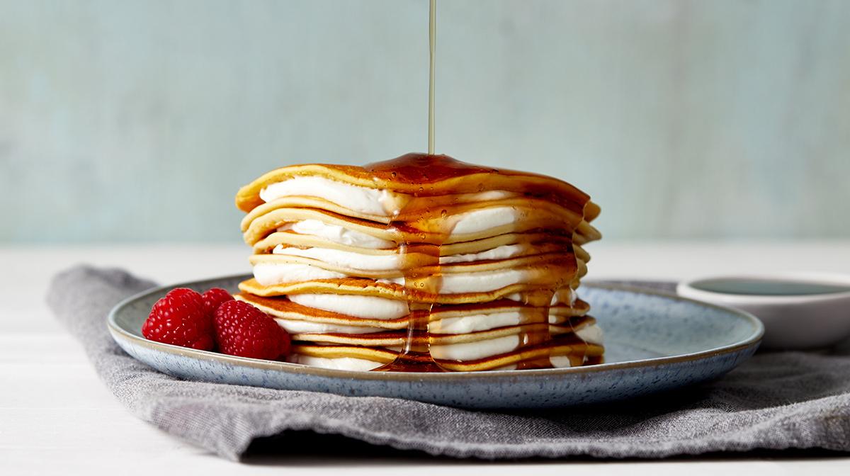 deliciosas y saludables tortitas Exante ideales para un desayuno saludabe combinadas con los siropes sin azúcar de Exante