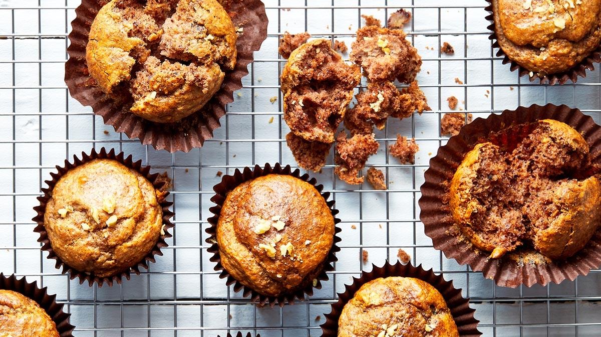 Muffins saludables de plátano y nueces