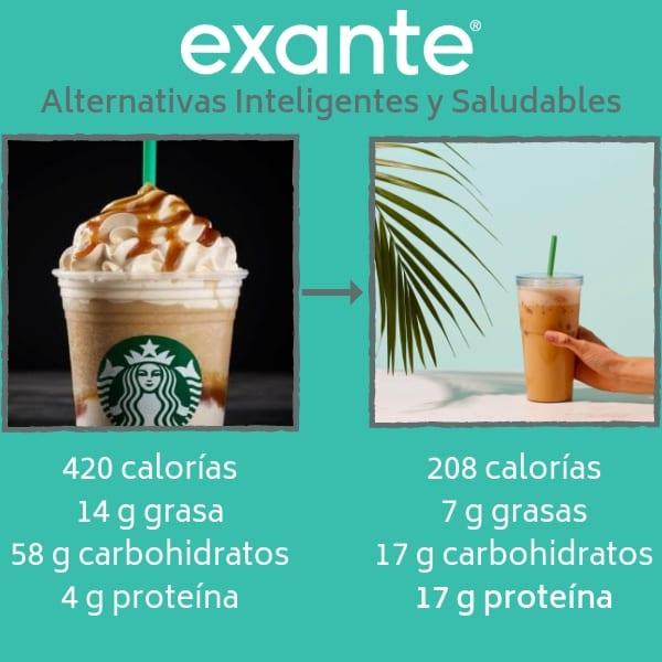 El batido de café con leche y caramelo de la dieta Exante es una de nuestras alternativas inteligentes y saludables
