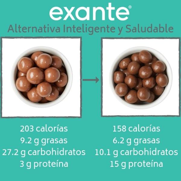 las bolitas proteicas de chocolate de la dieta Exante es una de nuestras alternativas inteligentes y saludables