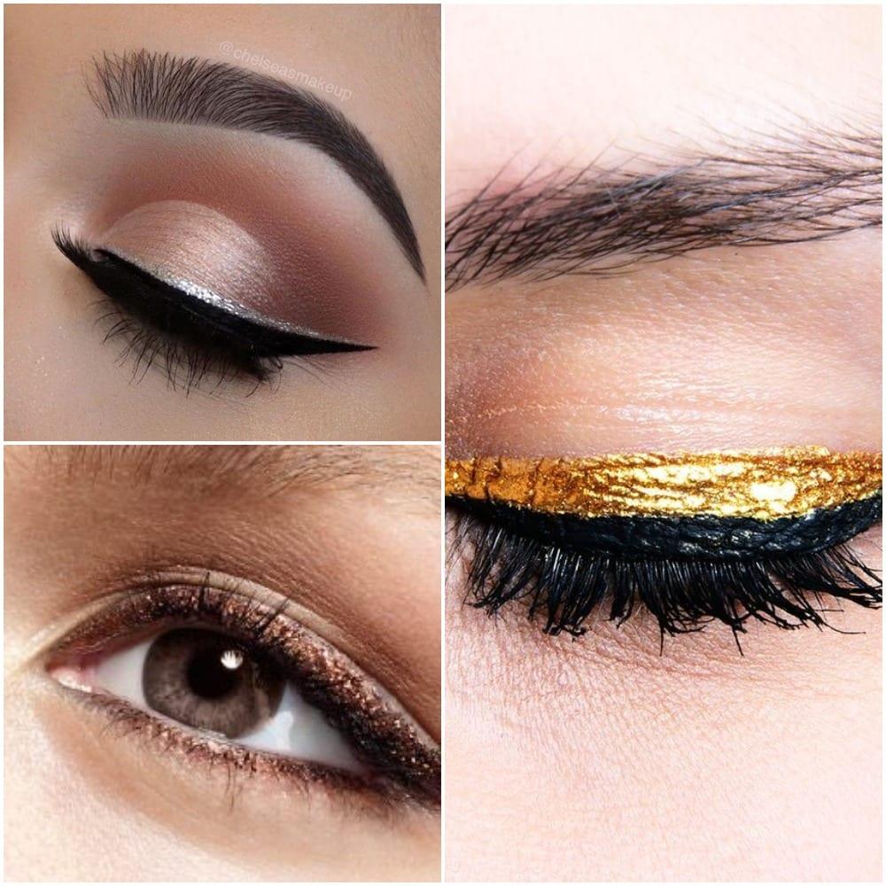 eyeliner oro argento trucco di capodanno