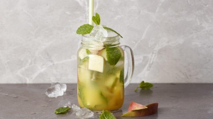 Fersken mango BCAA mojito mocktail | Forfriskende alkoholfri drink
