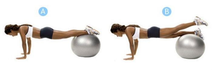 Подъемы ног на мяче