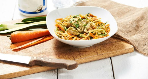 Healthy Lunch Idea | Spiralized Veg & Poached Chicken Recipe
