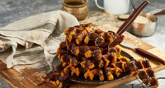 Healthy Halloween Waffles | Pumpkin Spiced