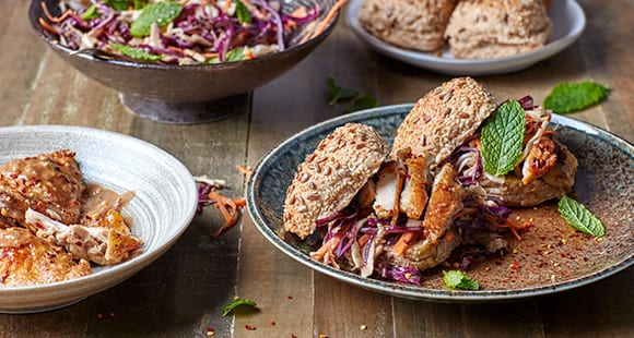 Summer Satay Slaw with Grilled Chicken Thigh Burgers