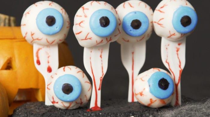 Healthy Halloween Recipes | Red Velvet Protein Eyeballs