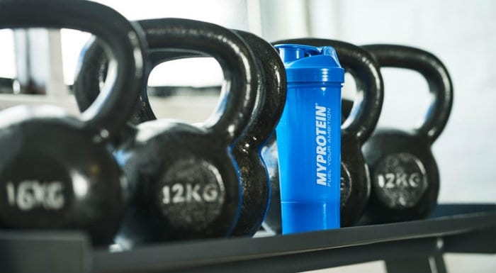 blue myprotein shaker with kettlebells
