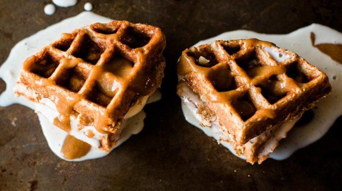 Caramel Mocha Protein Waffles