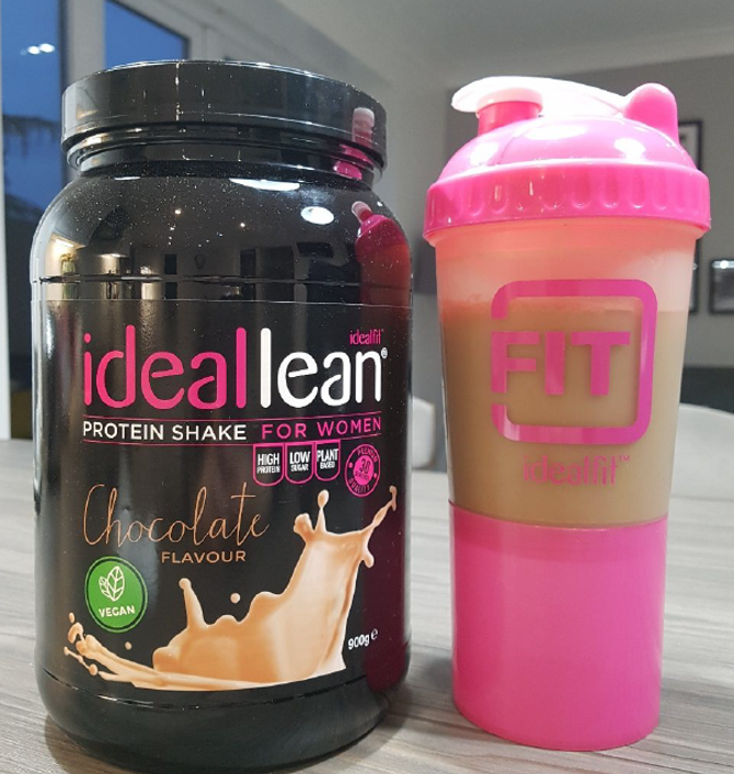 Idealfit lean vegan chocolate protein powder for women and pink shaker