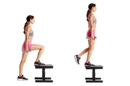 Übung #6: Step-Ups mit der Langhantel oder Kurzhanteln