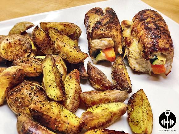 Putenrouladen mit Kartoffelspalten | Gesunde Fitness Küche