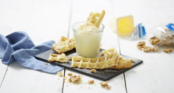 Protein Waffeln mit Vanillepudding | Fitness Dessert Rezept