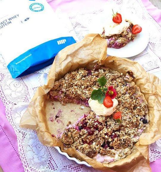 Berry Crumble Cake | Protein Kuchen Dessert