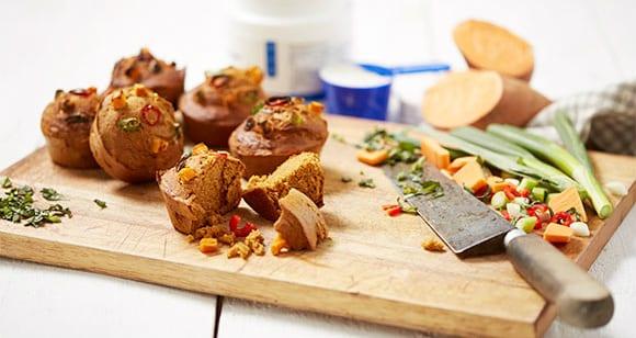 Pikante Süßkartoffel Muffins mit Buchweizen | Süßkartoffel Rezept