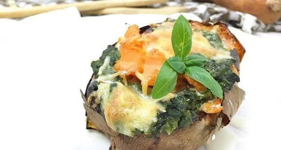 Süßkartoffel-Rezept | Überbackene Kartoffel mit Spinat