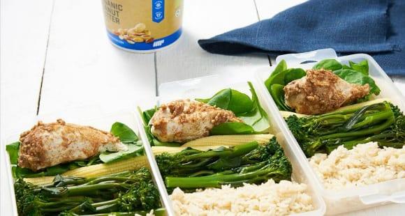 Mealprep Idee | Erdnussbutter-Hähnchen mit Reis