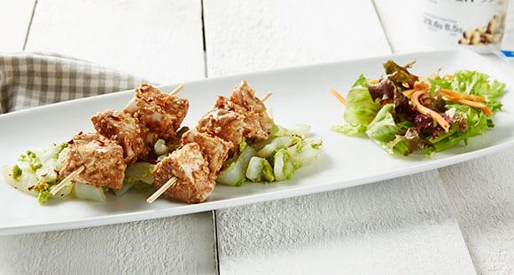 Glutenfreie Lunch Idee |  Erdnussbutter Hähnchen Spieße