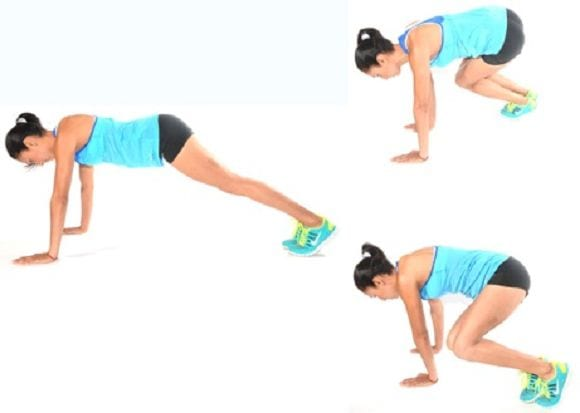 Plank Hops with half Burpee