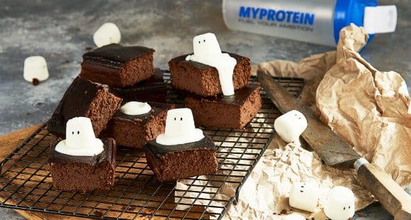 Halloween Rezepte | High Protein Geister Brownies