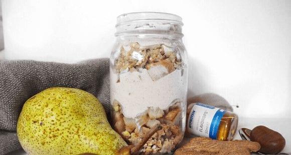 Protein Dessert | Leckere Maroni Birnen im Glas