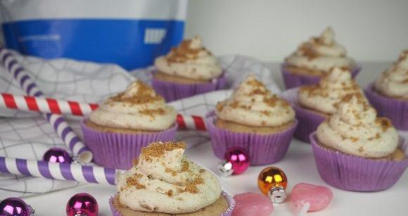 Fettarme Rezepte | Apfelcupcakes mit Spekulatius Topping