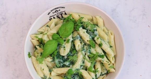 Vegane Rezepte | Cremige Spinat Penne