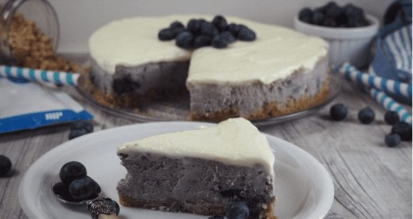 Kuchen ohne Zucker | Fettarmer Blaubeer-Käsekuchen