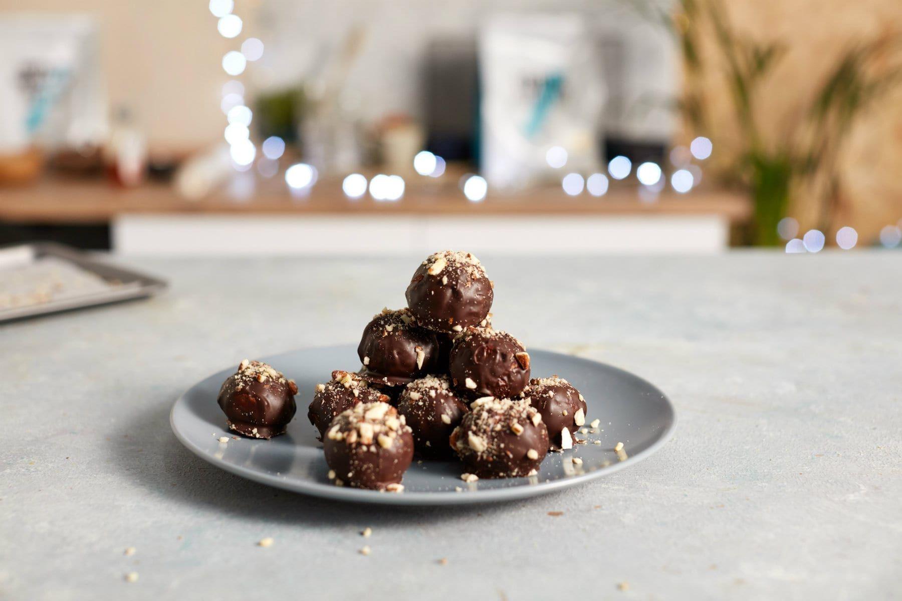 Weihnachts-Schokoladen Protein Bälle