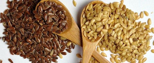 Semillas de lino doradas y marrones