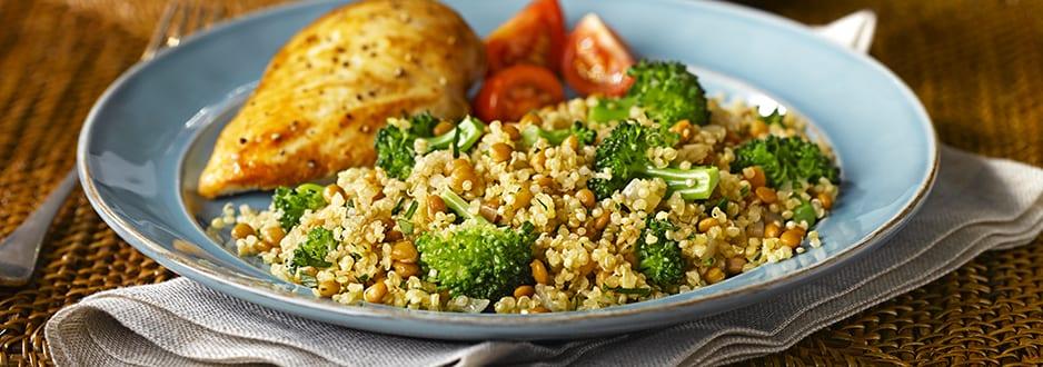 Ensalada de lentejas,brocoli y quinoa