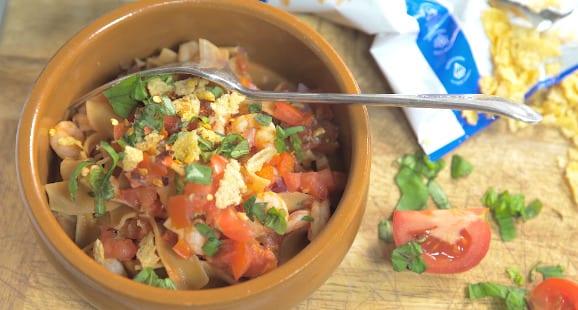 Menú Italiano | Pasta con Salsa Arrabiata con Gambas