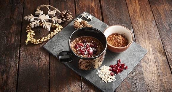 Gachas de Avena con Chocolate, Café y Arándanos