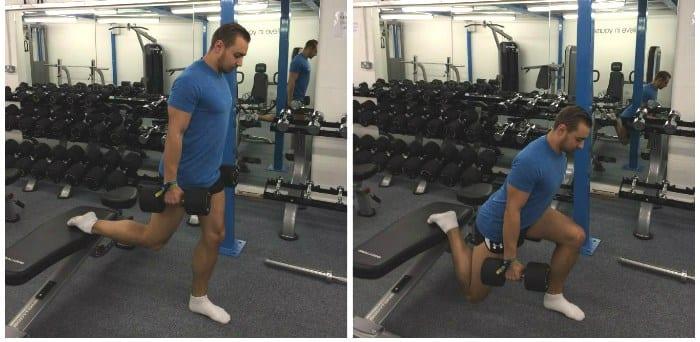 sentadilla búlgara para entrenamiento de pierna